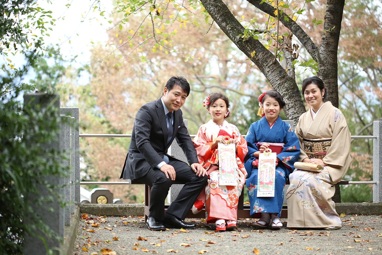 7歳七五三の家族写真