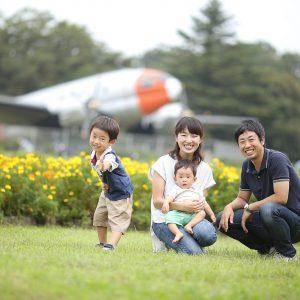 所沢航空公園で家族写真撮影