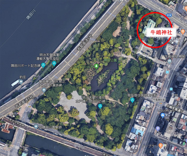 隅田公園の緑に囲まれた牛嶋神社