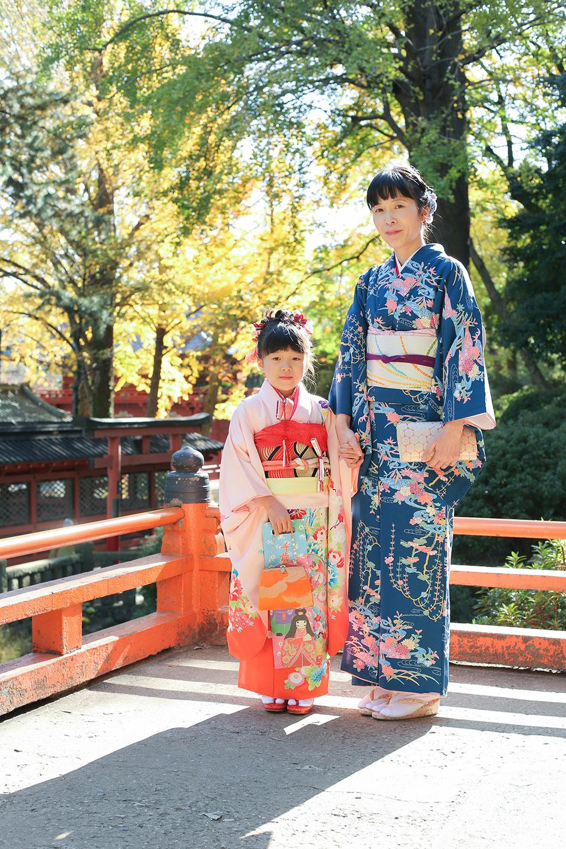 ママと着物で根津神社-七五三撮影-