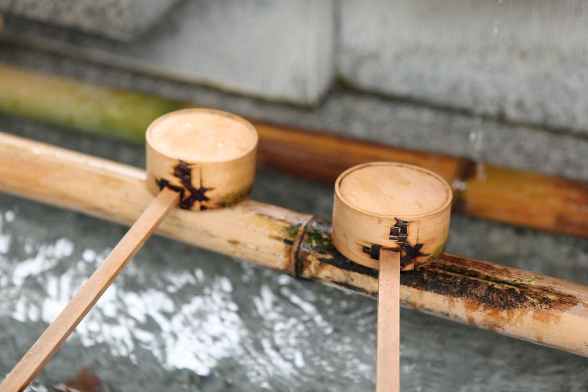 王子神社 手水の柄杓