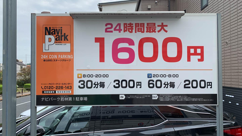 松陰神社の打ち止め駐車場